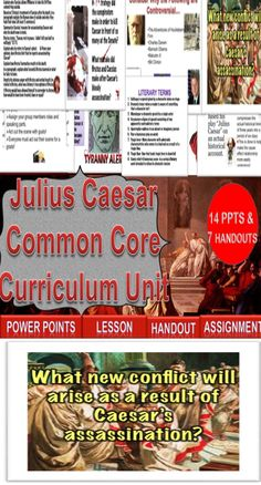 """Lesson plans aligned to Common Core are included!  This is a 2 week unit on William Shakespeare's """"Julius Caesar"""" aligned to Common Core. There are 12 Power Points and 11 documents included as well."""