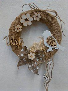 Dekorácie - Venček vtáčikový - 7781605_ Christmas Wreaths, Christmas Crafts, Christmas Decorations, Christmas Ornaments, Burlap Crafts, Diy And Crafts, Traditional Doors, Easter Wreaths, Diy Wreath