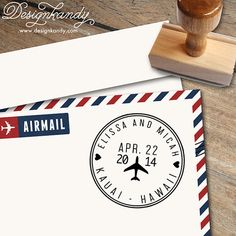 Airplane Save the Date Stamp with hearts, initials and date for Save the Dates & Wedding Invitations