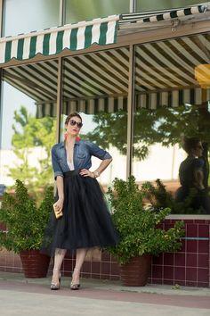 Midi Black Tulle Skirt Tea Length/Floor  Featured in the Etsy Editors Picks Holiday Fashion!