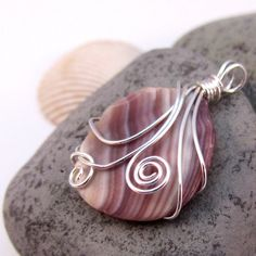 SALE - Purple and White Shell Pendant Necklace Silver Wire Wrapped - OOAK. $18.00, via Etsy.