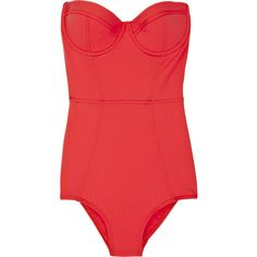 Zimmermann Thorn Corset Swimsuit ($100) ❤ liked on Polyvore featuring swimwear, one-piece swimsuits, tops, swimsuits, bathing suits, swim, women, polyester swimsuits, red bathing suit and halter one piece swimsuit