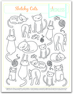 Sketchy Cats Embroidery Pattern - free from Heidi at Speckless, print on sticker paper for cute cat stickers to be colored in.