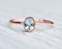 Natural aquamarine ring March birthstone sterling by LuoJewelry