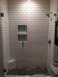 Grey Porcelain Tile Was Chosen For The Floor Shower Walls