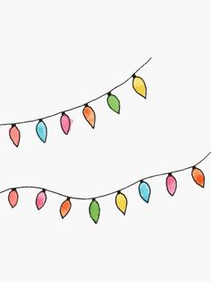 'Christmas Lights' Sticker by miramakesmovies - Malen - crismas Christmas Lights Drawing, Christmas Lights Clipart, Christmas Lights Wallpaper, Christmas Lights Background, Christmas Mood, Christmas And New Year, Christmas Wreaths, Christmas Cards, Drawing Wallpaper