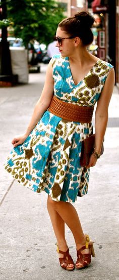 Colorful pattern dress, thick leather belt, and leather high heel sandals.  Love the turquoise and brown.