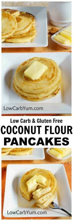 An easy recipe for fluffy gluten free low carb coconut flour pancakes. Such a tasty breakfast treat! Enjoy them with your favorite syrup or eat them plain.   LowCarbYum.com