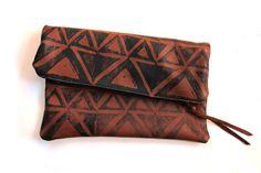 hand printed leather clutch