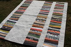 If you are looking for a unique Halloween quilt, this one is for you. This fun holiday string quilt is a perfect gift for that special person