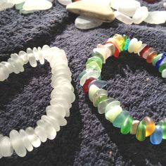 Beachglass-seaglass bracelets  my Dad made.