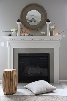 Ideas : Stunning Fireplace And Mantel Decorations - Charming Minimalist Fireplace Design With Elegant White Mantel And Direct Vent Gas Fireplace Inspirations Build A Fireplace, Custom Fireplace, Fireplace Mantle, Fireplace Surrounds, Fireplace Design, Decorative Fireplace, Simple Fireplace, Black Fireplace, Concrete Fireplace