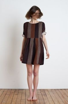 Pleated Minidress in tobaco