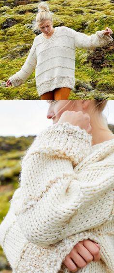 Free Knitting Pattern for a Chunky Yarn Oversized Sweater Free Chunky Knitting Patterns, Jumper Knitting Pattern, Crochet Jumper, Chunky Knit Jumper, Crochet Patterns, Knitting Ideas, Knit Crochet, Chunky Yarn, Chunky Knits