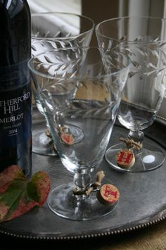 Wine cork wine glass charms. so appropriate