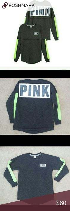 PINK VS varsity crew shirt holographic logo gray PINK VS varsity crew shirt holographic logo Color: Gray crew with neon green mesh with black holographic PINK logo on front & back PINK Victoria's Secret Tops Sweatshirts & Hoodies