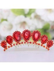Red Rhinestiones and Zircons Wedding Headpiece - Alice Bridal Wedding Headpieces, Wedding Accessories, Dress Collection, Crochet Earrings, Bridal, Stylish, Wedding Dresses, Red, Color