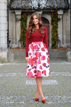 red top 2017 with floral skirt 2017