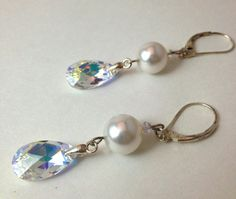 Bridal Swarovski Dangle Earrings Made With by LittleBoxOfCrystals