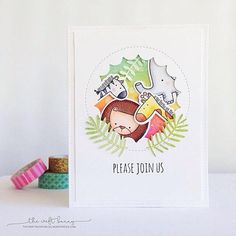 Sweet Safari stamp set and Die-namics, Lisa Johnson Designs Jumbo Peek-a-Boo Circle Windows and Leafy Greenery Die-namics - Amy Lee #mftstamps