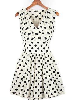 A Line Polka Dot V Neck Tank Dress | Sprence