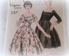 1950s Full Skirt Vintage Sewing Pattern - Vogue 9794 - Rockabilly dress - Size 12 Bust 32 - Complete Original condition