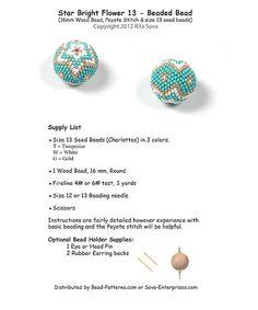 Star Bright Flower 13 - Beaded Bead Pattern | Bead-Patterns.com