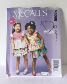 McCalls 6688 Sewing Pattern Easy Kids Pullover Top Skirt Girls 2 3 4 5 New Uncut