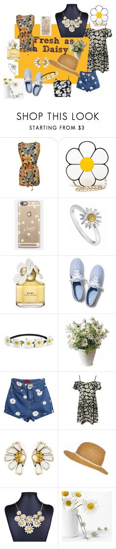 """""""Fresh as A Daisy"""" by shegetscreative ❤ liked on Polyvore featuring Casetify, Daisy Jewellery, Marc Jacobs, Keds, Impulse, Betsey Johnson, River Island, Bling Jewelry and Boohoo"""