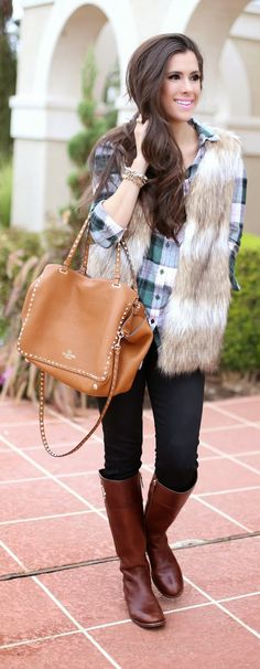 Faux Fur Vest in Striped Camel http://rstyle.me/n/p543apdpe