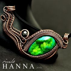 Wire Wrapped Druzy Agate, Dragon Charm Pendant from Nicole Hanna Jewelry