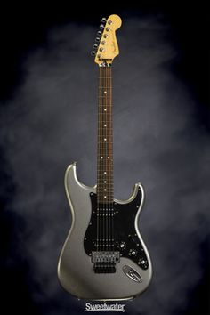 Fender Blacktop Strat - Floyd Rose Titanium Silver | Sweetwater.com | Solidbody Electirc Guitar with Alder Body, Maple Neck, Rosewood Fingerboard, Two Humbucking Pickups, and Floyd Rose Tremolo - Titanium Silver