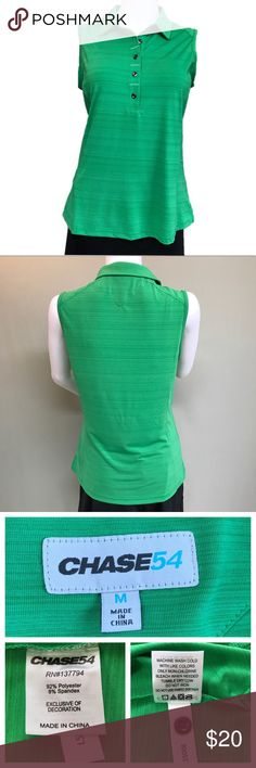 CHASE54 Golf Polo - Green Sleeveless Like new condition. No holes, rips, or stains. Beautiful grass green color. Sleeveless polo with collar and 5 buttons. Spare button still attached. See photos for materials.   May have never been worn. Daughter no longer plays golf & it's too small for me. It needs to go :)  Approximate Measurements Laying Flat: (See Photos)  •Pet & Smoke Free Home •No Trades •BUNDLE DISCOUNT🛍  Feel free to make offer or ask questions!! Thanks for visiting my closet…