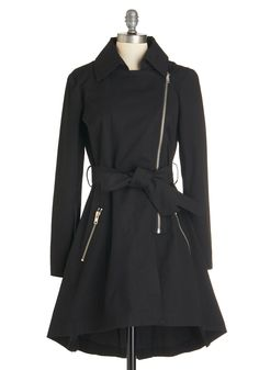 Hop, Zip, and a Jump Raincoat by BB Dakota - Long, Cotton, Woven, Black, Solid, Exposed zipper, Pockets, Belted, Casual, Urban, 2, Long Sleeve