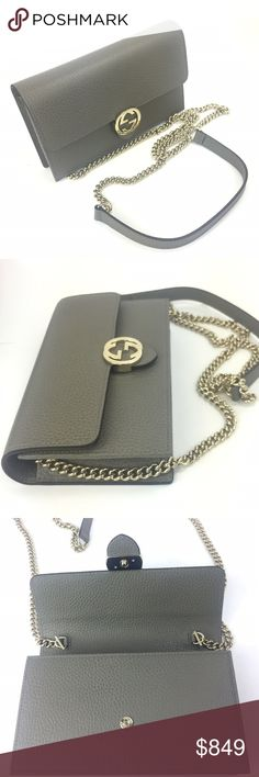 42d389a8997f Gucci # 510314 Leather GG Closure Chain Crossbody - Gray Textured Leather  Exterior - Flap Closure