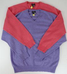 Lot Of 2 Jos A Bank Large 100% Cashmere V Neck Sweaters Pink & Purple LS Mens   #JosABank #VNeck