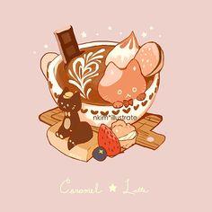 Caramel Latte Cat, an art print by Nadia Kim Cute Food Drawings, Cute Animal Drawings Kawaii, Kawaii Doodles, Kawaii Art, Arte Copic, Desserts Drawing, Cute Food Art, Chibi Food, Cute Cartoon Wallpapers