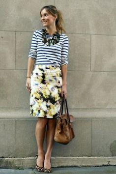 stripes + pencil skirt