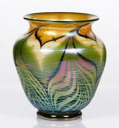 Orient and Flume Art Glass Vase Halo, 1970s Art, Stained Glass Art, Antique Glass, View Image, Iridescent, Art Nouveau, Contemporary Art, Glass Vase