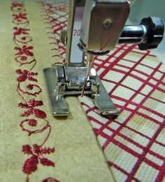Here are three different ways to use the Open toed embroidery foot #20 for sewing and decorative stitching.
