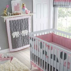 Gray and pink is so cute in a baby's room.  Wish I knew someone that had one;)