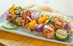 These light kabobs are a perfect complement for summer salads or on top of a bed of couscous or quinoa pilaf.