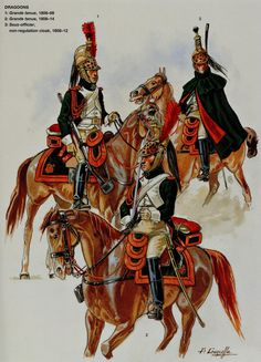 French;Imperial Guard, Empress Dragoons. L to R Dragoon Grande Tenue 1806-08, Dragoon Grande Tenue 1808-14 & Sous Officer in non regulation cloak 1808-12 .by Patrice Courcelle