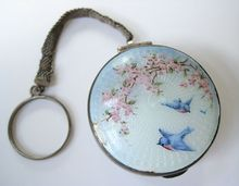 RARE Sterling Silver Guilloche Blue Bird Cherry Blossom Floral Guilloche Enamel Powder Compact with Finger Ring or Chatelaine Lipstick Case, Lipstick Holder, Vintage Makeup, Vintage Vanity, Vintage Purses, Vintage Handbags, Antique Jewelry, Vintage Jewelry, Solid Perfume