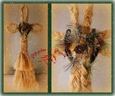 "Rustic rope cross wall hangings are made from authentic sisal baling twine and are adorned with either a vintage shoe or a horseshoe that was once worn by a working ranch horse . The crosses measure apx 36"" in length and are done in either a flat or round braid."