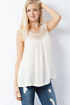 Crochet Lace Yoke Top - Cream