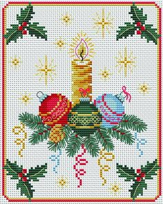 Christmas Candle. This pattern is from a site that has really easy to download embroidery patterns for free. It's http://cross-stitchers-club.com/?code_avantage=uucqid. Plus, if you click on this link, you'll automatically receive a gift when you subscribe. I use this site all the time; there are hundreds of all different types of patterns, and there are new patterns added everyday. It's really worth a look.