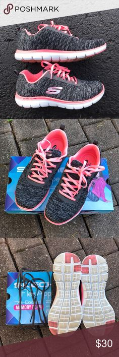 Skechers Flex Appeal Memory Foam sneakers Hello! These have been worn twice on the treadmill with clean socks.  Comes with second set of laces in grey color. Skechers Shoes Sneakers