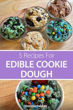 Edible Cookie Dough 5 Ways Check out these 5 recipes for edible cookie dough plus tips on how to make flour safe for raw consumption. Low Carb Cookie Dough, Cookie Dough Vegan, Nutella Cookie, Cookie Dough Recipes, Chocolate Chip Cookie Dough, Baking Recipes, Dessert Recipes, Cookie Mixes, Edible Cookie Dough Recipe For One