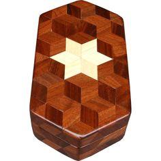 Caja hexagonal de nogal pequeño por woodmosaics en Etsy